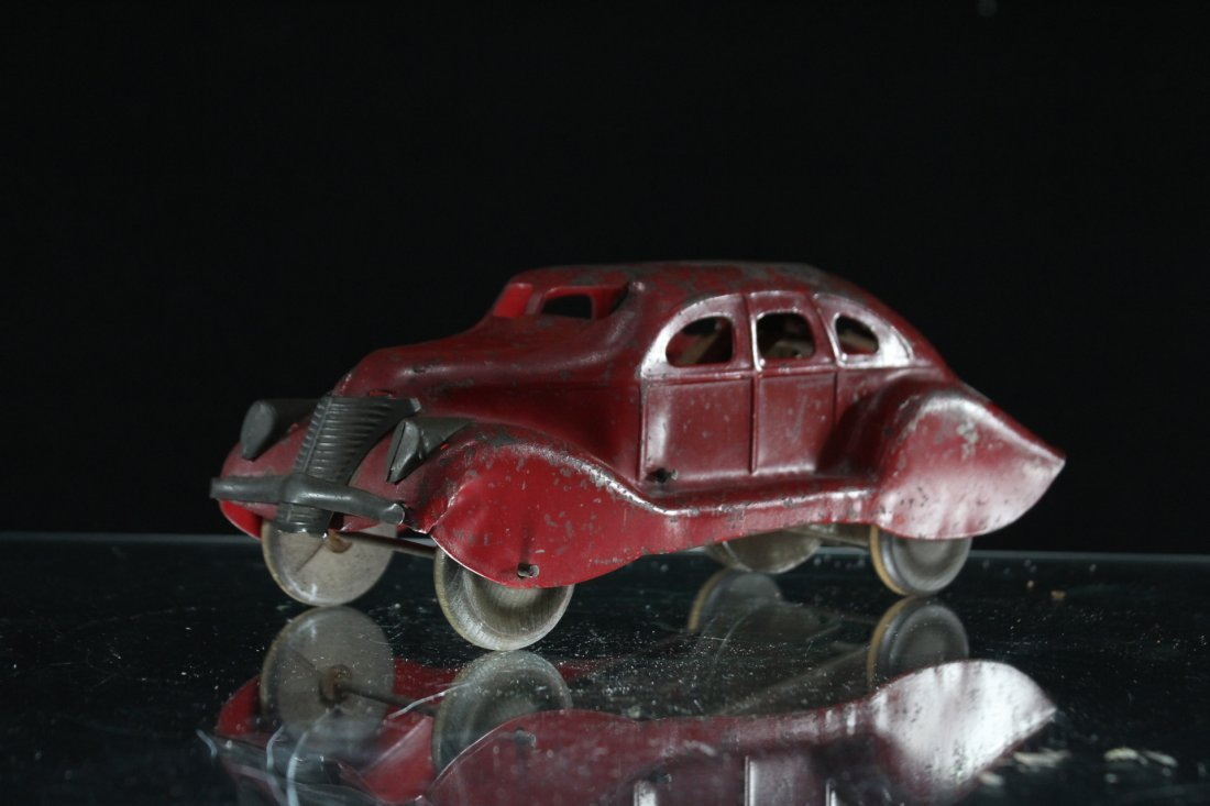 Antique PRESSED STEEL RED MYSTERY CAR
