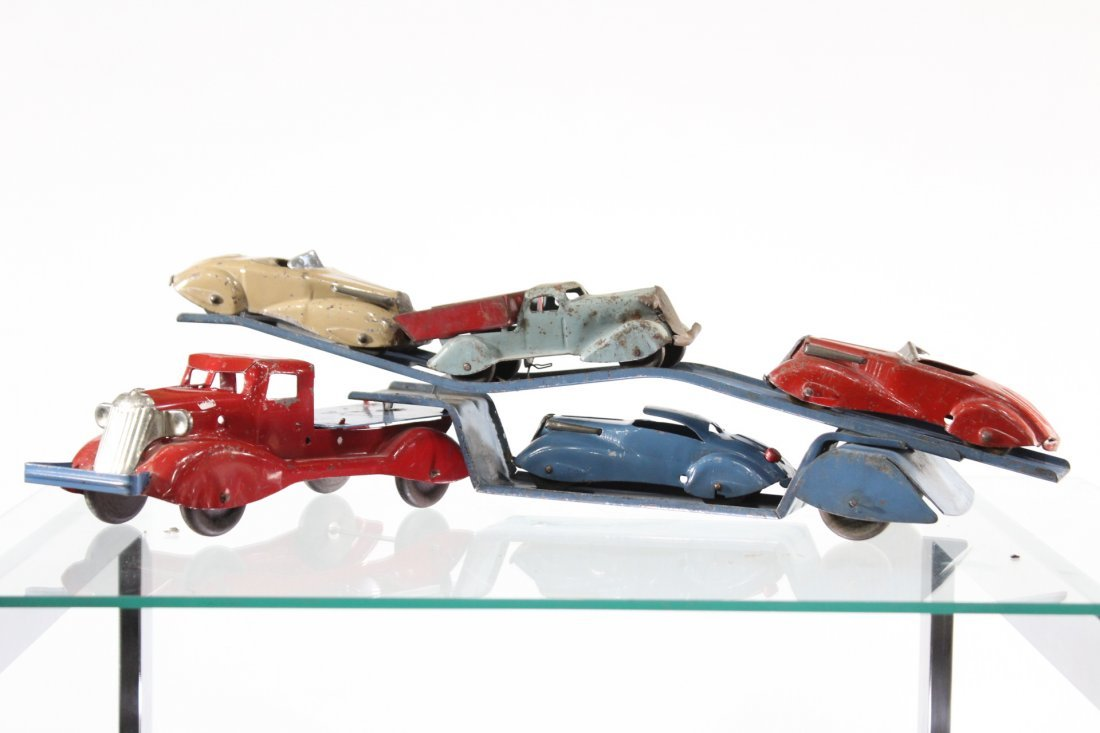 Antique PRESSED STEEL CAR CARRIER WITH 4 VEHICLES