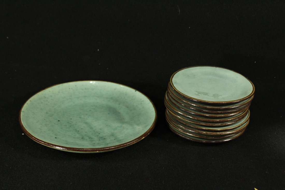 Mid Century Green Glazed Pottery Plates LUNCHEON SET
