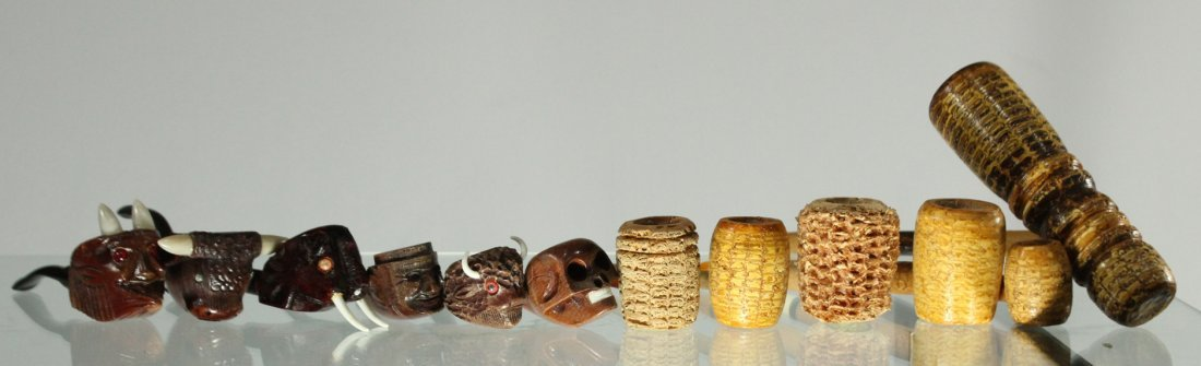 12 Assorted SMOKING PIPE COLLECTION MANY CARVED FIGURAL