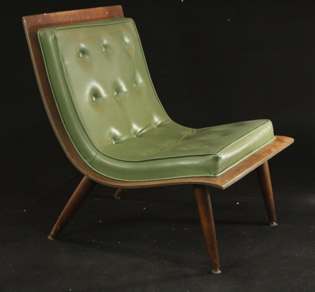 Carter Brothers Scoop Chair Olive Green Mid Century Mod