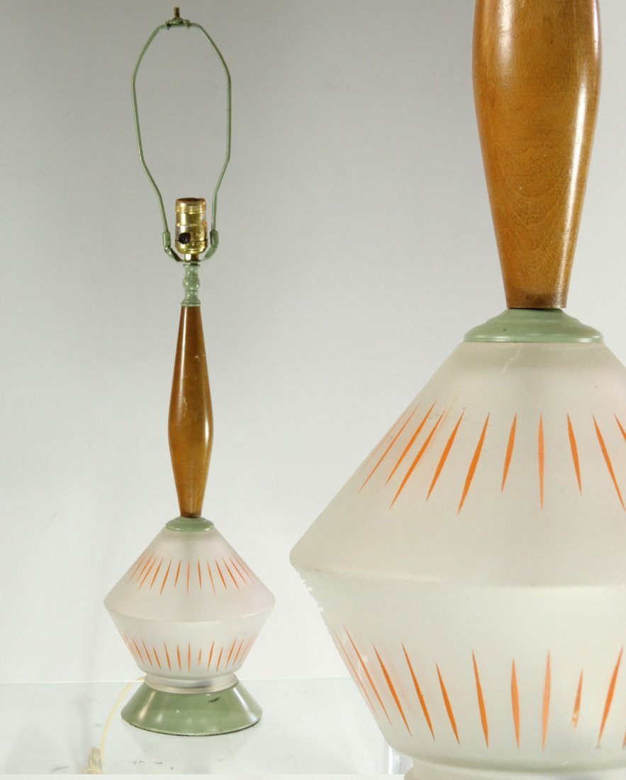 Mid-Century Modern Glass and Wood Lamp