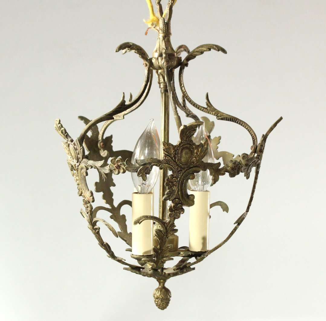 Antique FRENCH BRONZE HANGING HALL LIGHT Electrified