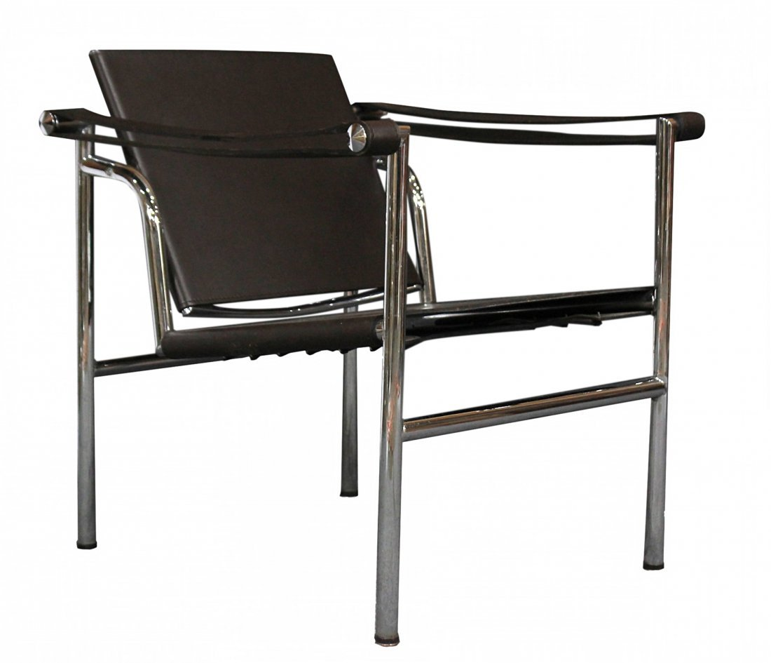 Mid Century Design CHROME AND BROWN LEATHER CHAIR