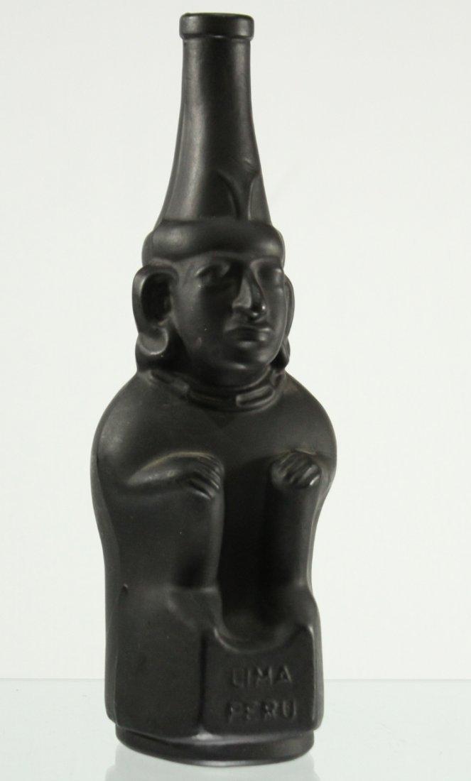 LIMA PERU Black Satin FIGURAL BOTTLE