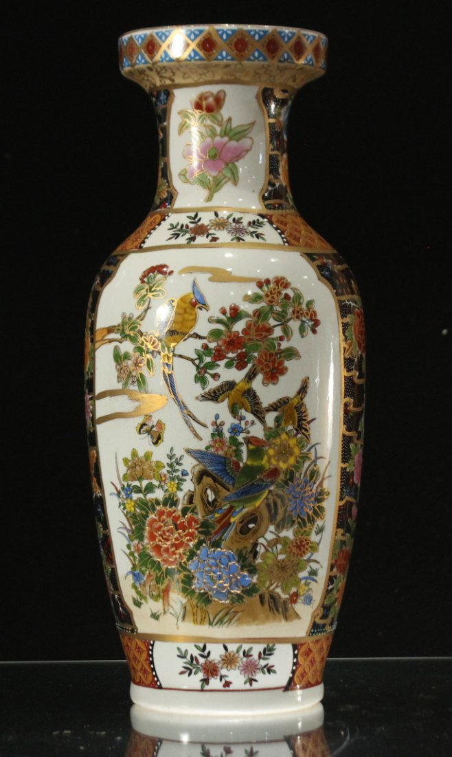 Chinese Porcelain Temple Vase with Scenic Panels