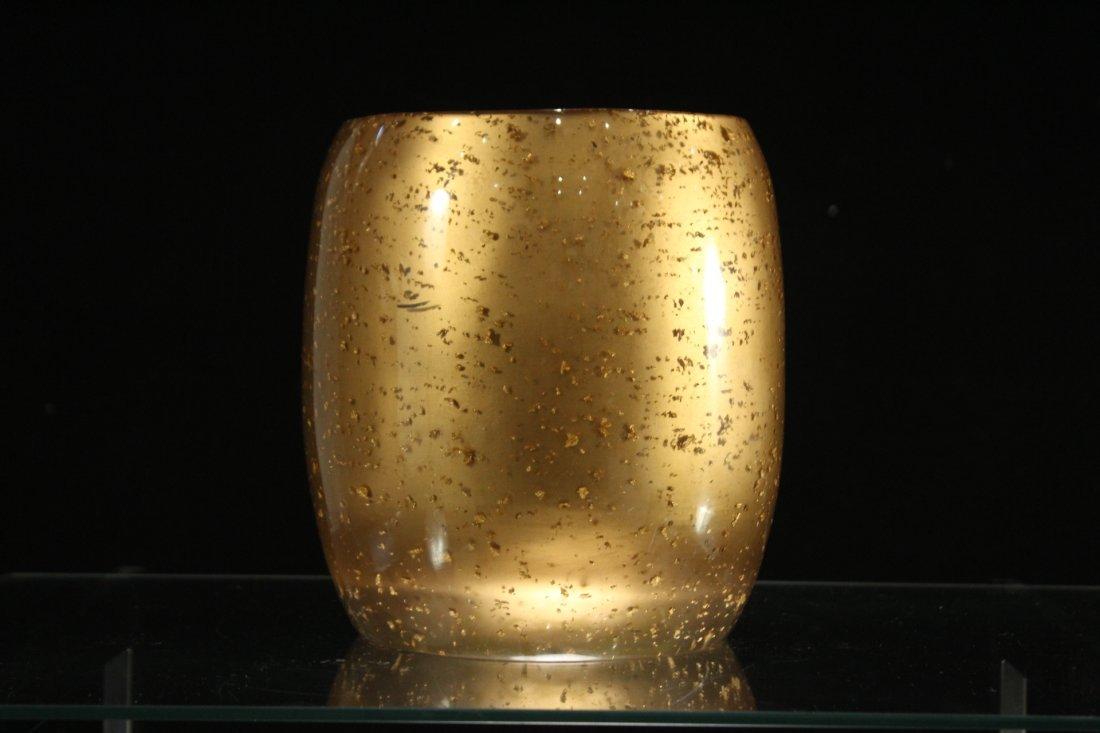 MID CENTURY MODERN GOLD ITALIAN GLASS VASE