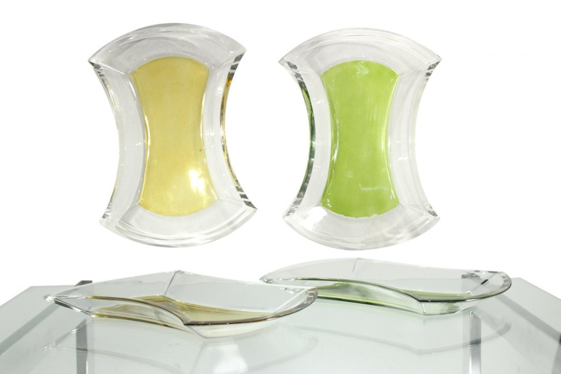 Two [2] MID CENTURY MODERN GLASS SERVING DISHES