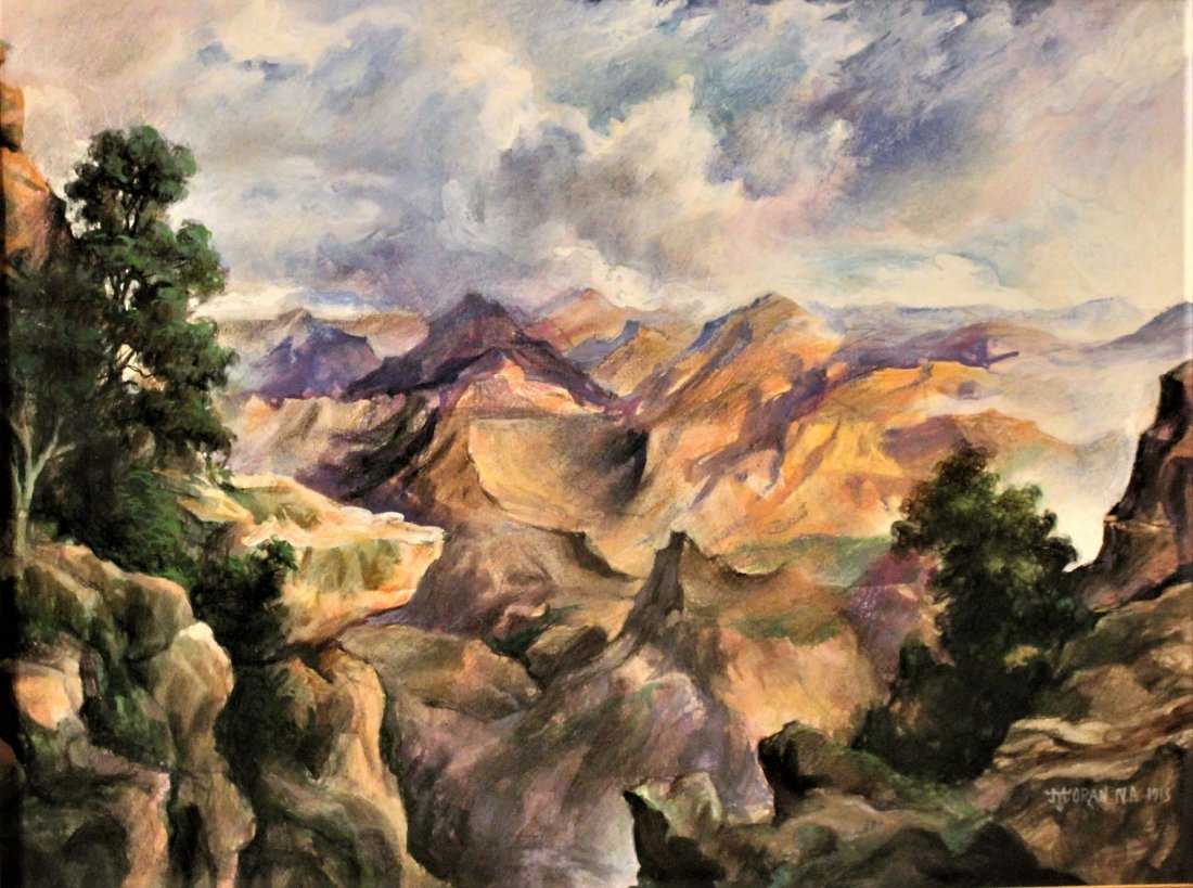 THOMAS MORAN N.A. 1913; Watercolor, WESTERN MOUNTAINS