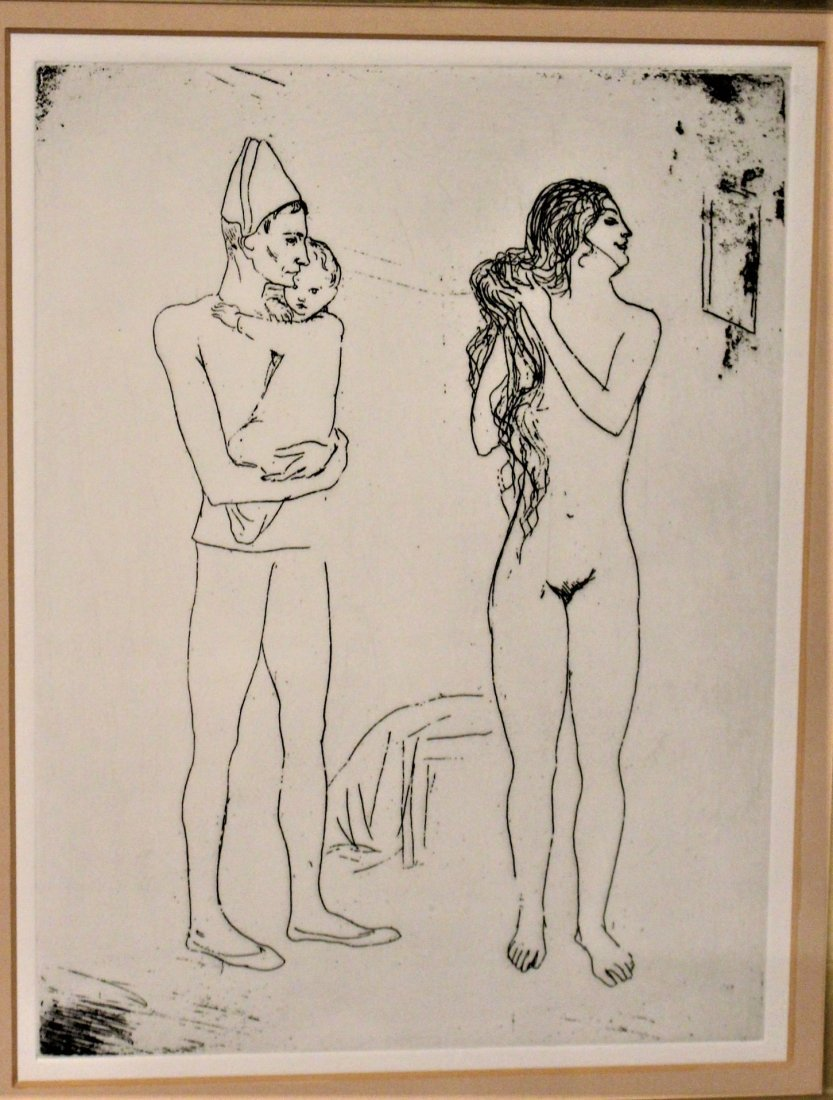 PICASSO ? ETCHING OF MAN HOLDING INFANT, NUDE WOMAN