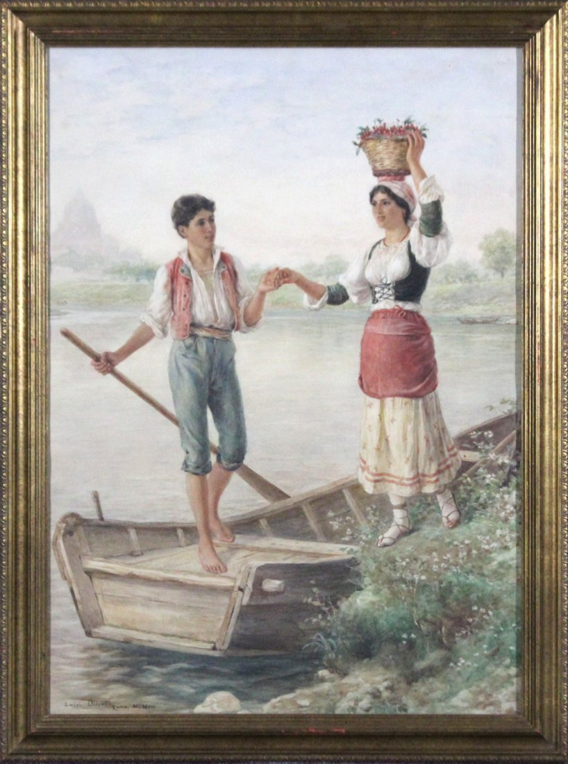 Luigi Olivetti 1856 - 1941 ITALY w/c YOUNG MAN And GIRL