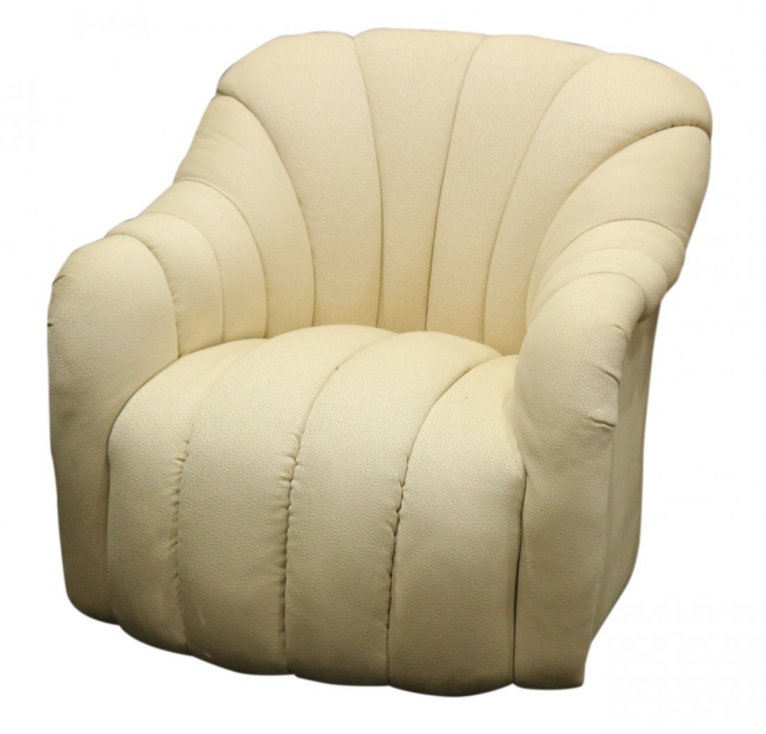 HOLLYWOOD REGENCY WHITE SHELL TUFTED CLUB CHAIR