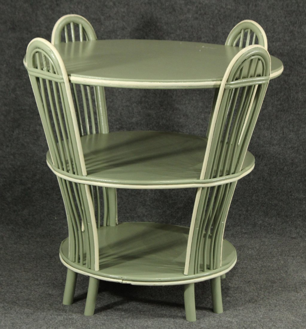 MID CENTURY MODERN FLARED 3-TIER WICKER ROUND TABLE