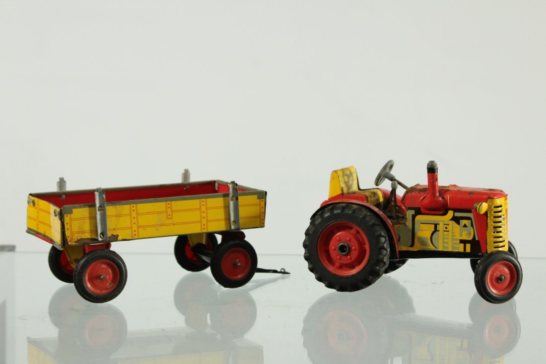 Vintage ZETOR TOY TRACTOR AND CART TIN LITHO
