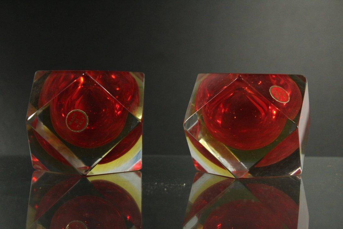 Italian murano pair geometric modern paperweights