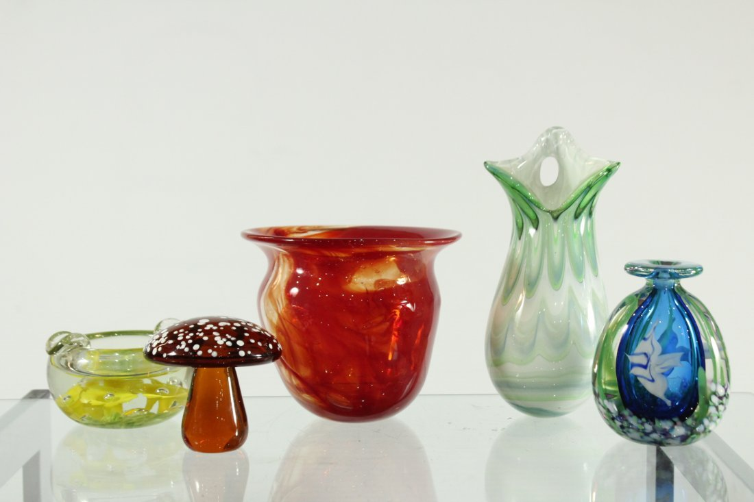 Five (5) assorted hand blown glass items,
