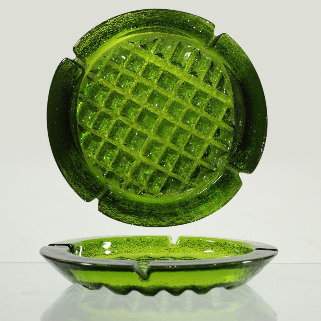 Green hand blown waffle ash tray