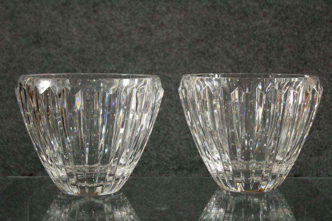 Bohemia czech lead crystal pair of bowls