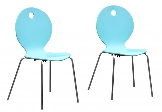 CALLIGARIS ITALY Pair TURQUOISE BENT PLY CHAIRS