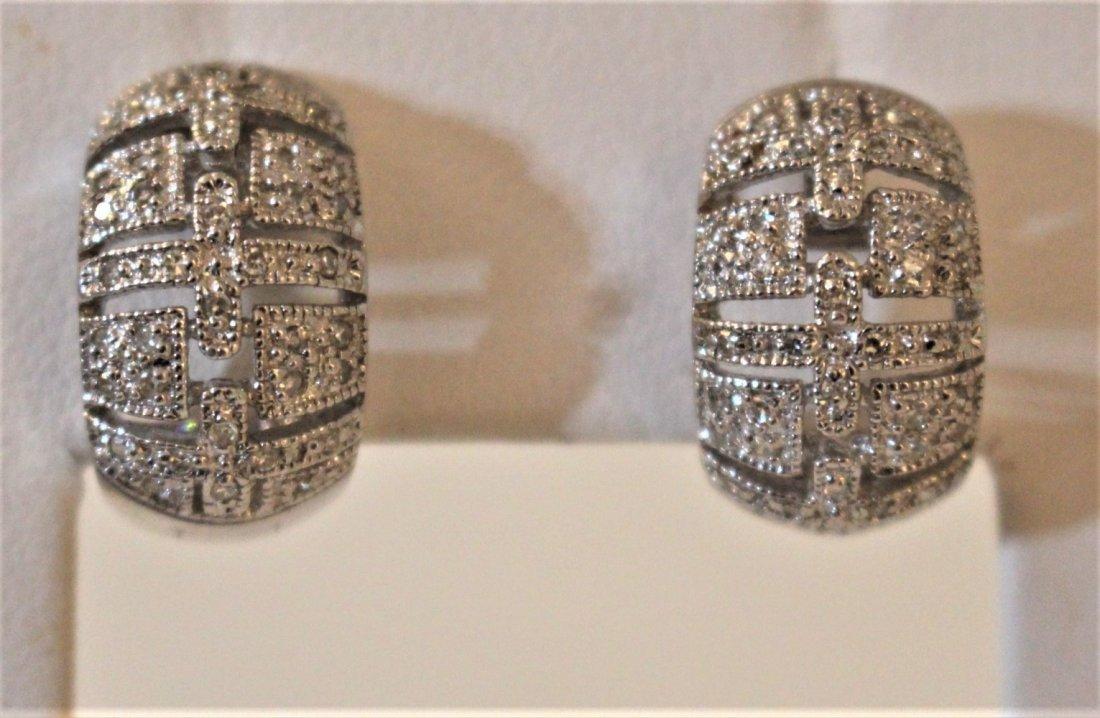 ART DECO Style STERLING .925 DIAMONDS EARRINGS