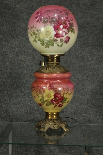 Victorian Hand painted hurrican lamp double shade