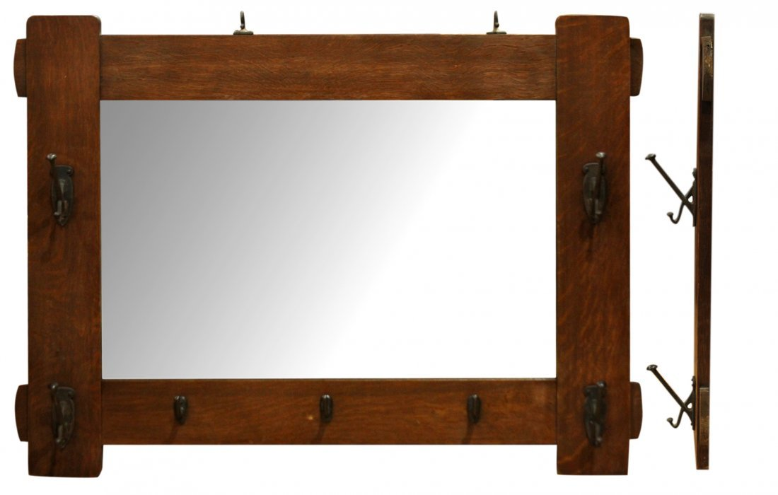 Rare STICKLEY MISSION OAK WALL MIRROR WITH COAT HOOKS