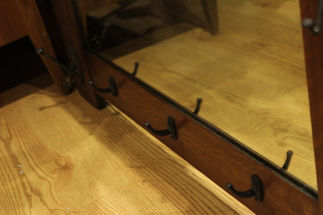 Rare STICKLEY MISSION OAK WALL MIRROR WITH COAT HOOKS - 4
