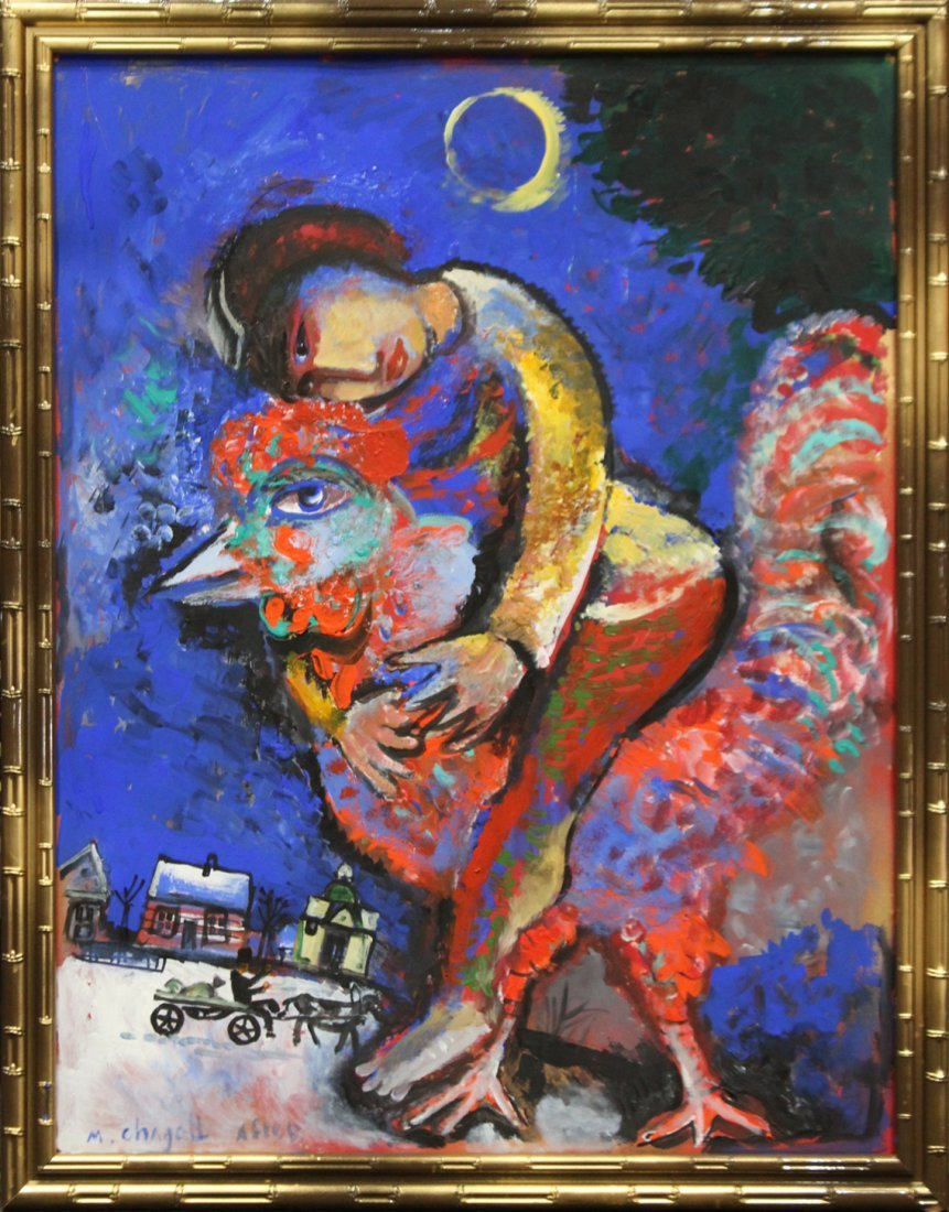 MARC CHAGALL After, Large OIL/c FIGURE ON ROOSTER