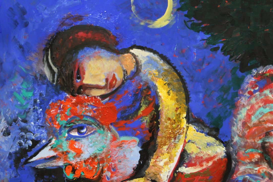 MARC CHAGALL After, Large OIL/c FIGURE ON ROOSTER - 2