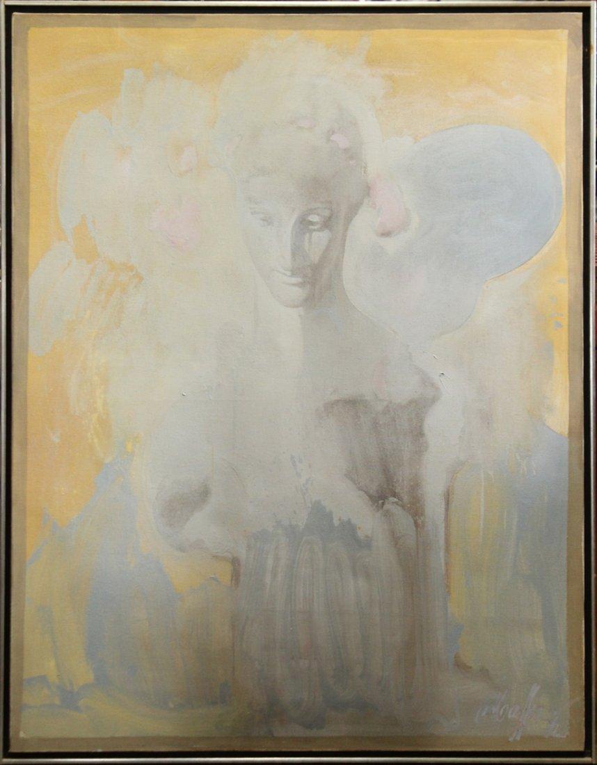 MAFFEYS oil/c Mid Century Modern GIRL PORTRAIT IN CLOUD
