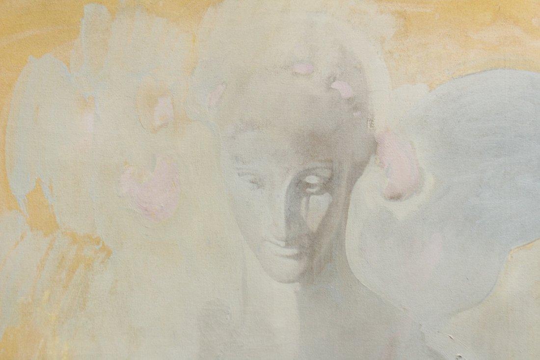 MAFFEYS oil/c Mid Century Modern GIRL PORTRAIT IN CLOUD - 2