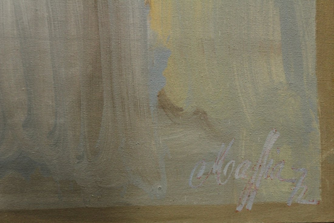 MAFFEYS oil/c Mid Century Modern GIRL PORTRAIT IN CLOUD - 3