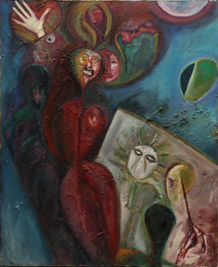 R MANN; Large Oil/c ABSTRACT SURREAL GROTESQUE FACES
