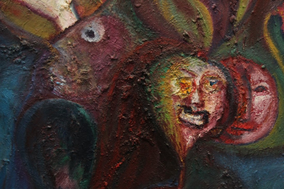 R MANN; Large Oil/c ABSTRACT SURREAL GROTESQUE FACES - 2