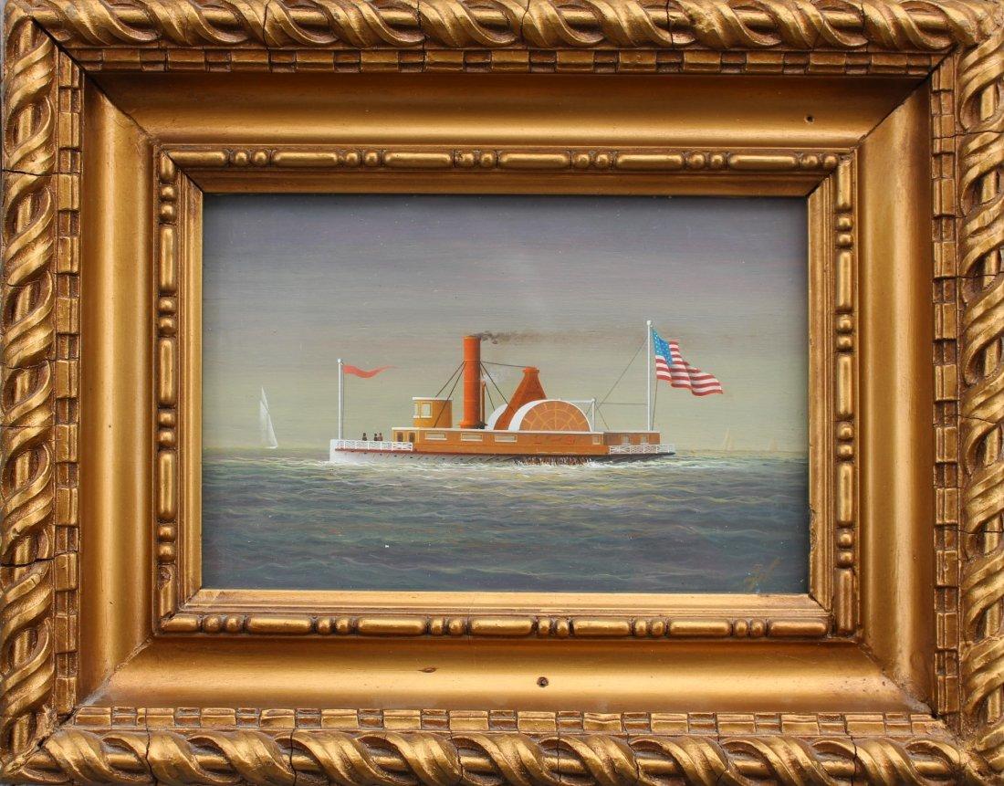 GEORGE NEMETHY Listed Artist HUDSON RIVER STEAMBOAT