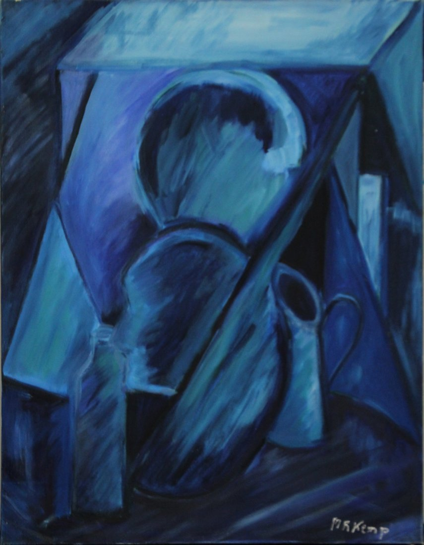 MARIE ROSE KEMP, Large Oil/c MID CENTURY ABSTRACT BLUE
