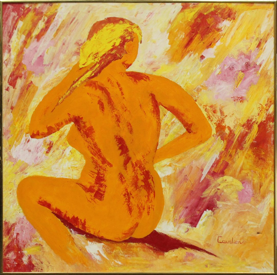 CAVALIER, Large Oil/c MID CENTURY SEATED NUDE FEMALE