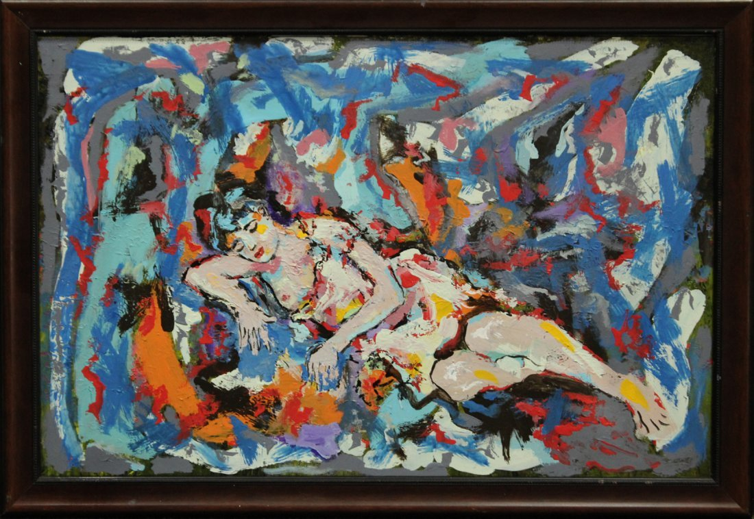 MID CENTURY MODERN NUDE IN ABSTRACT OIL/C