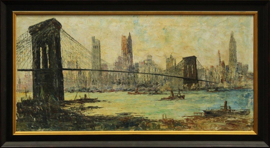 MID CENTURY OIL PAINTING BROOKLYN BRIDGE NYC SKYLINE