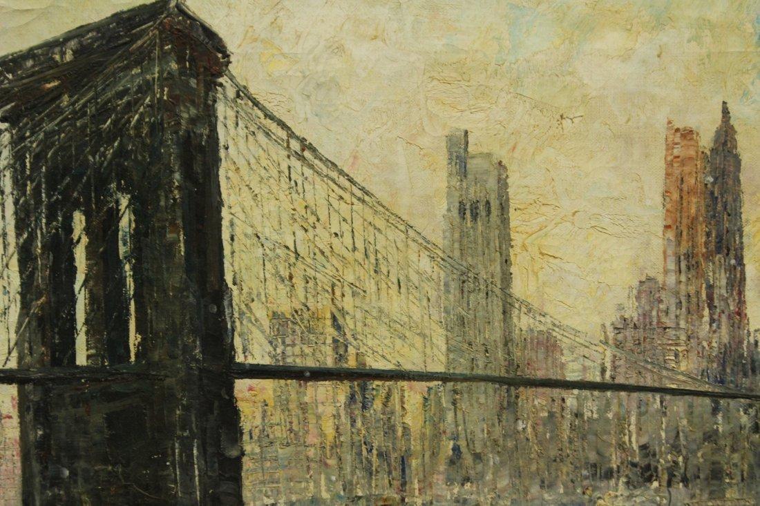 MID CENTURY OIL PAINTING BROOKLYN BRIDGE NYC SKYLINE - 2