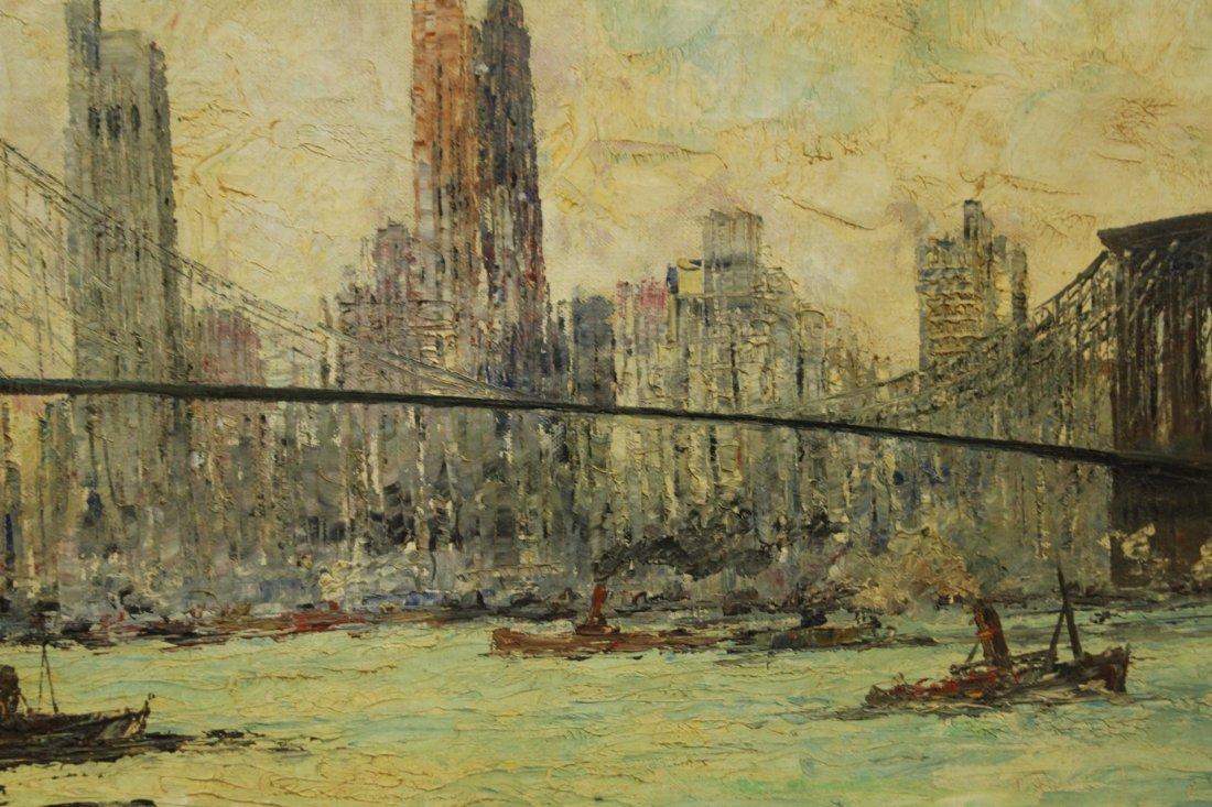 MID CENTURY OIL PAINTING BROOKLYN BRIDGE NYC SKYLINE - 3