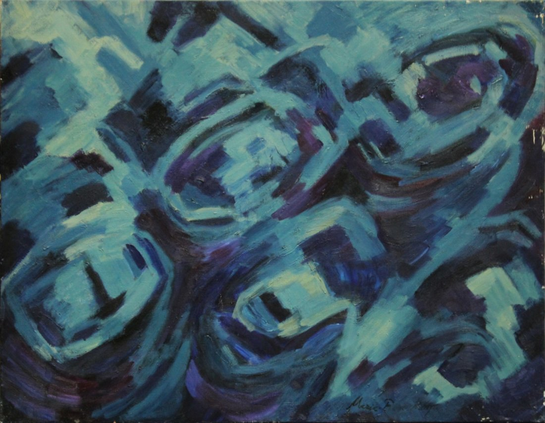 MARIE ROSE KEMP, Large Oil/c BLUE MID CENTURY ABSTRACT