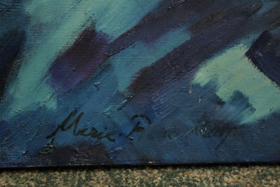MARIE ROSE KEMP, Large Oil/c BLUE MID CENTURY ABSTRACT - 2