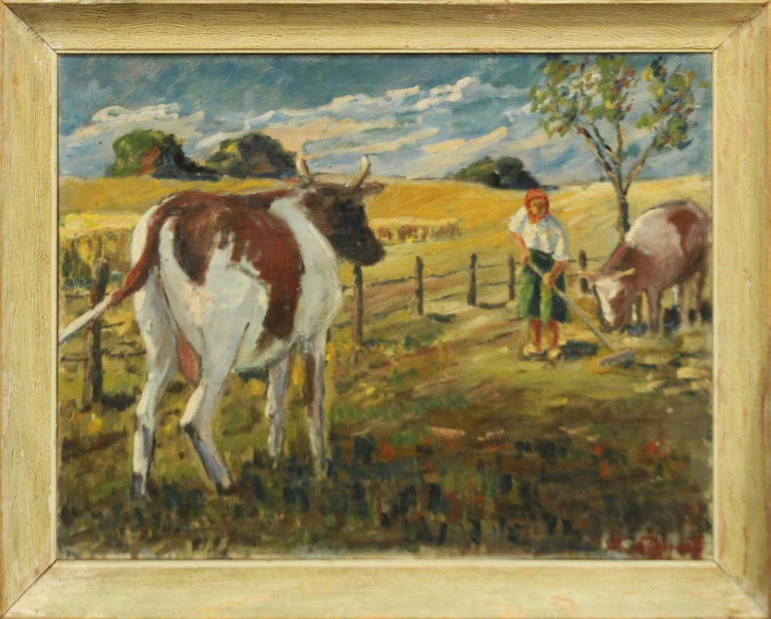 FREDERICK DIMITRY Oil/c COWS IN FARM FIELD WITH FIGURE