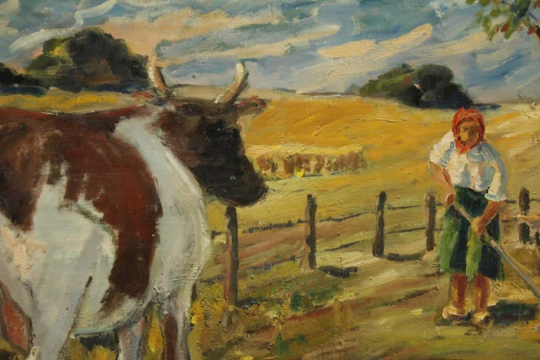 FREDERICK DIMITRY Oil/c COWS IN FARM FIELD WITH FIGURE - 2