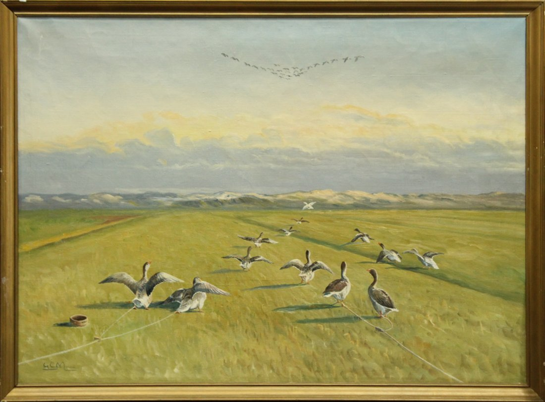 GEESE IN FORMED SYMMETRICAL FLIGHT Canvas Oil Painting
