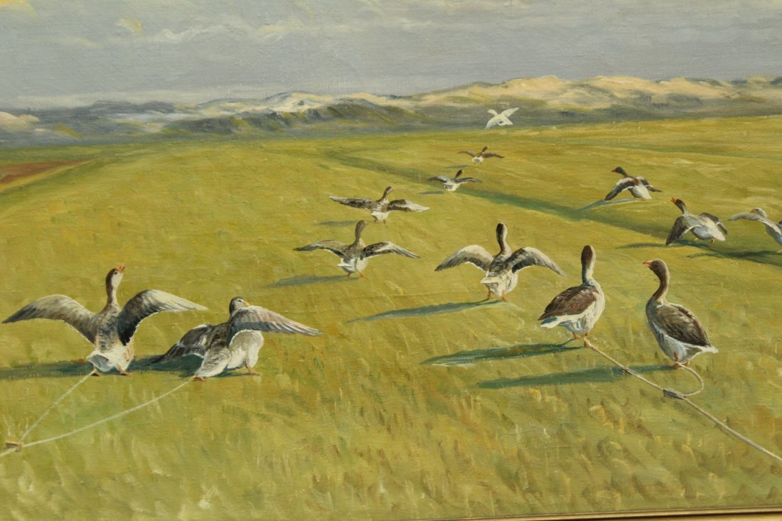 GEESE IN FORMED SYMMETRICAL FLIGHT Canvas Oil Painting - 2