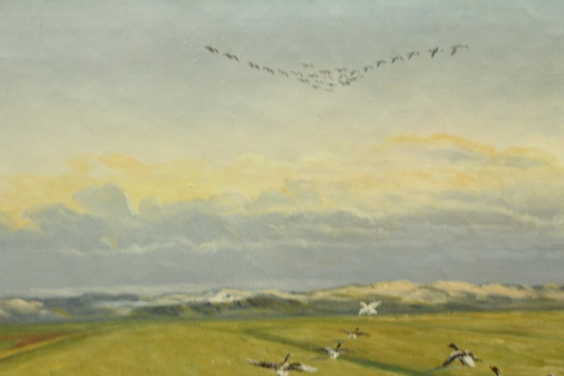 GEESE IN FORMED SYMMETRICAL FLIGHT Canvas Oil Painting - 3