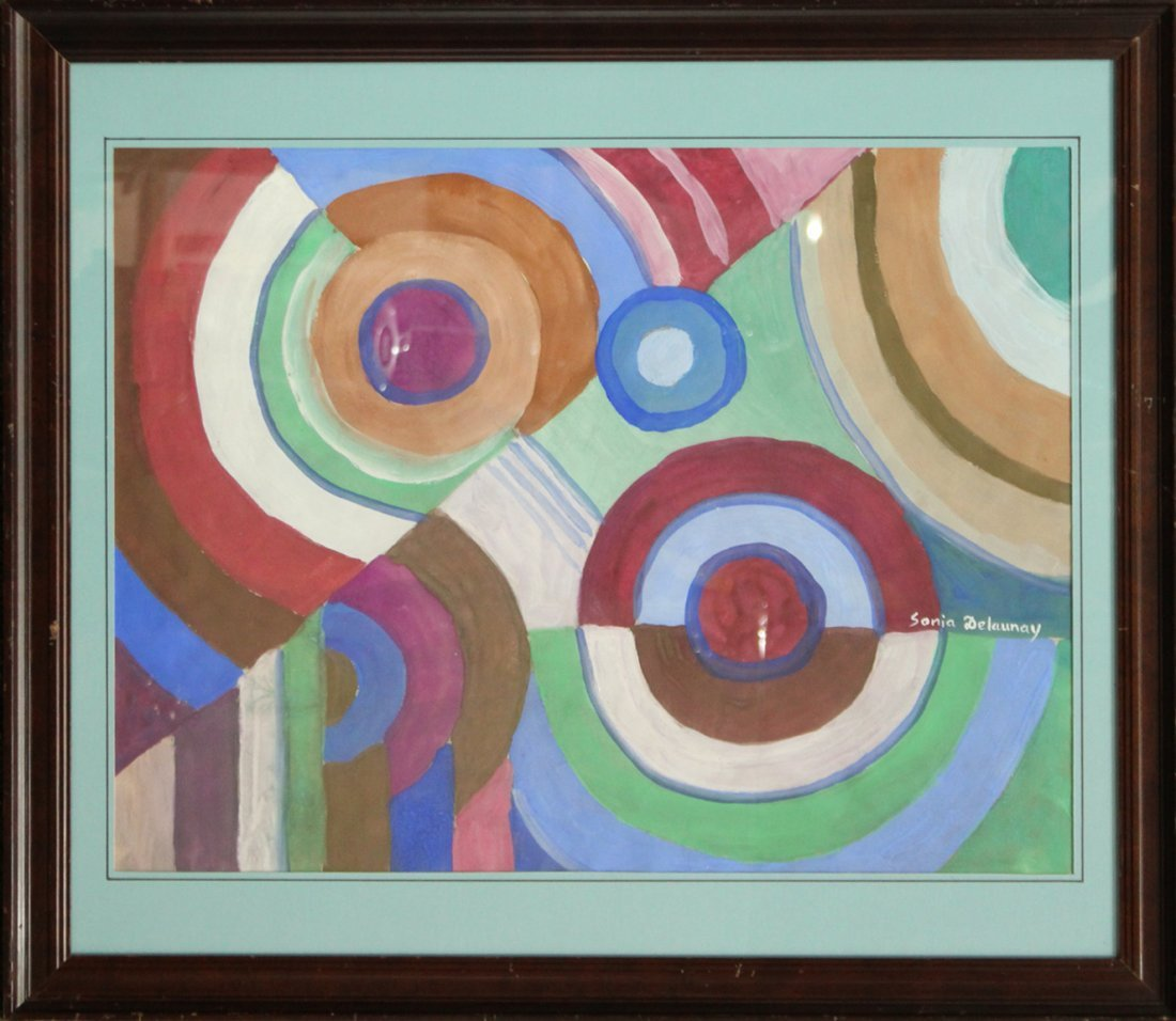 SONIA DELAUNEY attributed Gouache DISCS MULTI COLORS