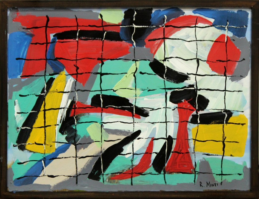 R. MONTI Mid Century Oil/c ABSTRACT BEHIND THE GRID
